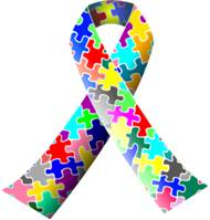 Autism awareness ribbon of the Autism Society